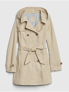 Twill Hoodie Trench Coat