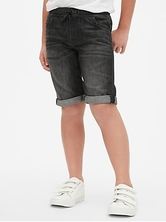 Kids Pull-On Denim Roll Shorts