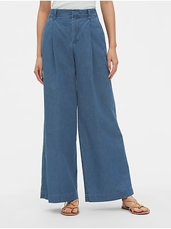 High Rise Pleated Wide-Leg Jeans