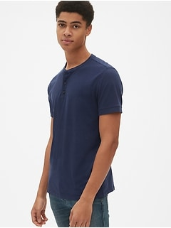 Short Sleeve Henley in Cotton-Linen