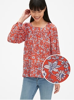 Blouson Sleeve Print Square-Neck Blouse