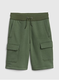 Kids Pull-On Cargo Shorts in French Terry