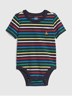 Baby Stripe Pocket Short Sleeve Bodysuit