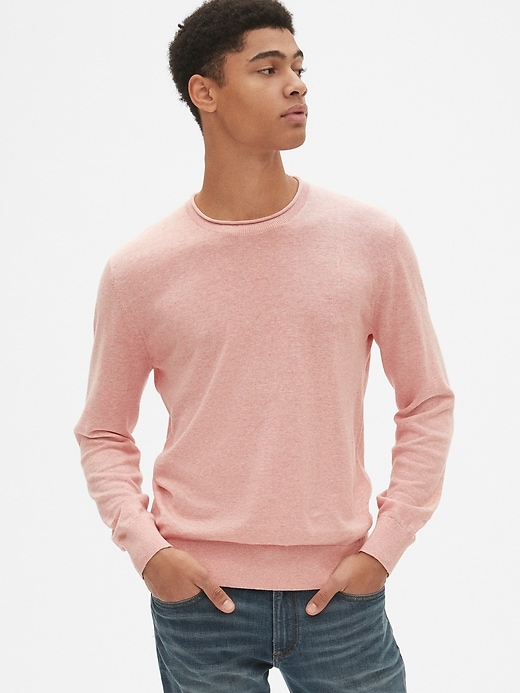 Crewneck Pullover Sweater in Linen-Cotton