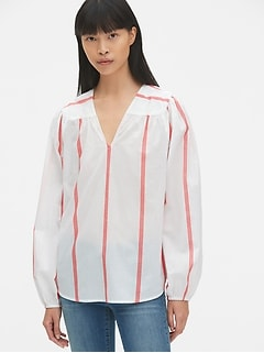 Long Sleeve Stripe V-Neck Blouse