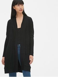 Softspun Mix-Fabric Longline Open-Front Cardigan