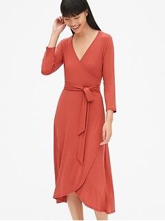 Three-Quarter Sleeve Knit Midi Wrap Dress