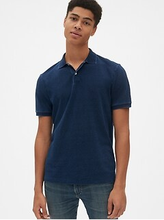 All Day Indigo Pique Polo Shirt