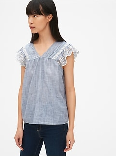 Eyelet Embroidered Flutter Sleeve V-Neck Top in Chambray