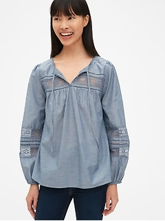 Lace-Insert Split-Neck Peasant Blouse in Chambray