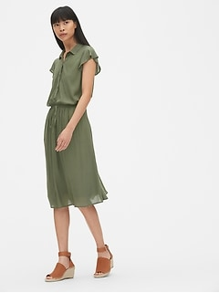 Perfect Flutter Sleeve Midi Shirtdress