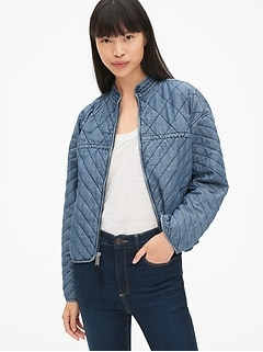 Quilted Denim Zip-Front Jacket in TENCEL&#153