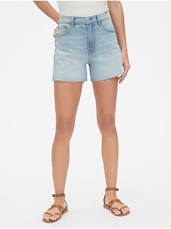 "High Rise 4"" Denim Shorts with Raw Hem"