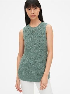 Pointelle Crewneck Sweater Tank Top