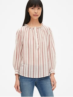 Long Sleeve Stripe Crinkle Gauze Ruffle-Neck Blouse