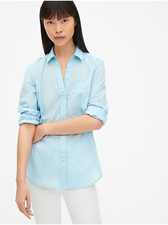 Fitted Boyfriend Shirt in Poplin