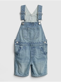 Stripe-Lined Denim Shortalls