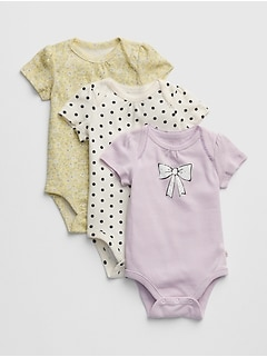 Baby Print Short Sleeve Bodysuit (3-Pack)