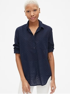 Boyfriend Swiss Dot Popover Tunic Shirt