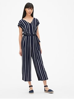 Stripe Cap Sleeve Wide-Leg Jumpsuit