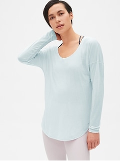 GapFit Breathe Air Double-Layer Long Sleeve Cut-Out Top