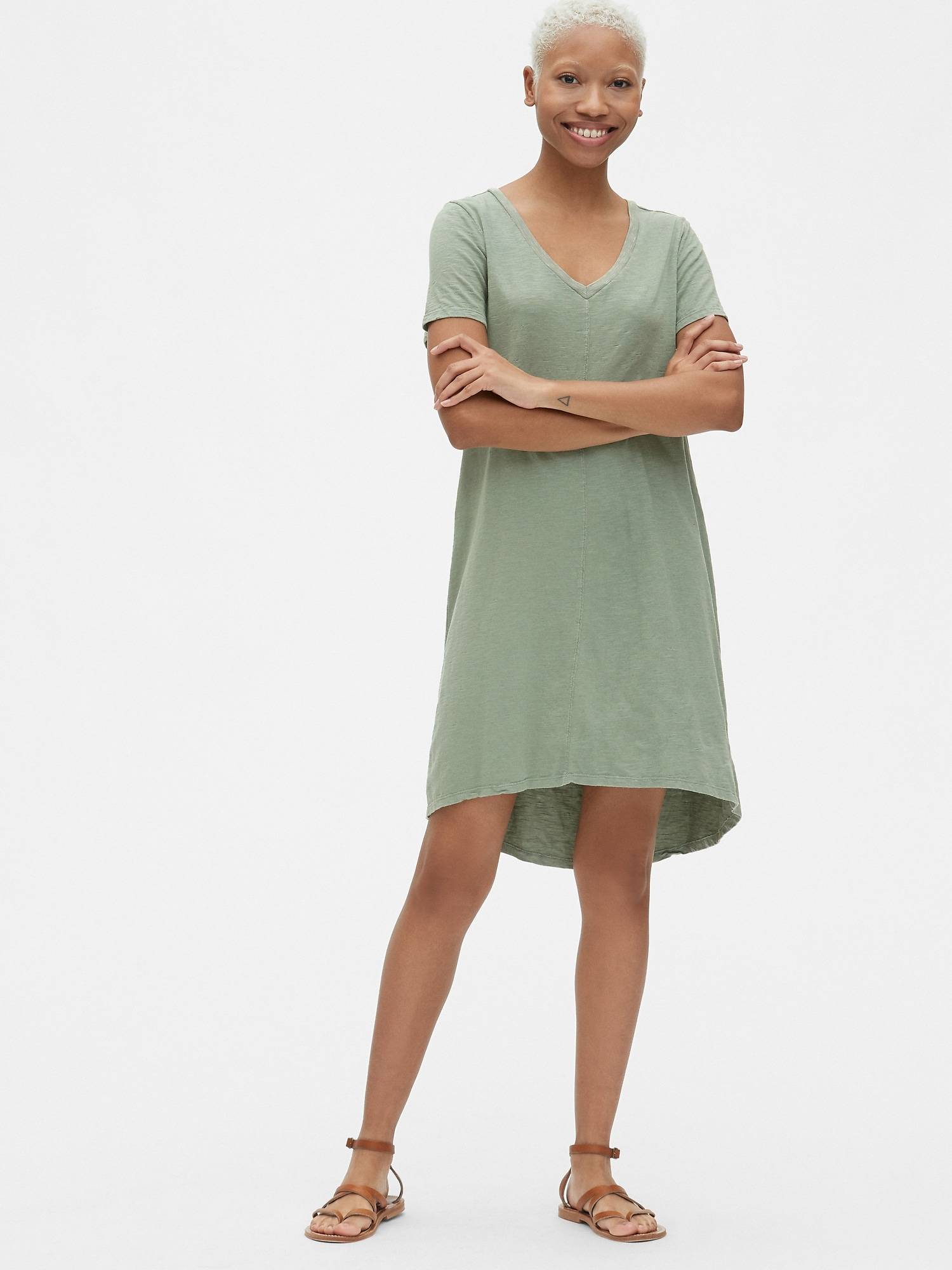 Gap Soft Slub Vintage Wash Womens V-Neck T-Shirt Dress