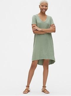 Soft Slub Vintage Wash V-Neck T-Shirt Dress