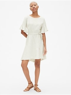 Flutter Sleeve Tie-Belt Dress in Ponte