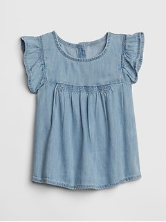 Baby Denim Flutter Top