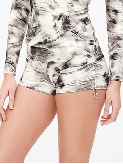 Side-Cinch Marble Print Swim Short