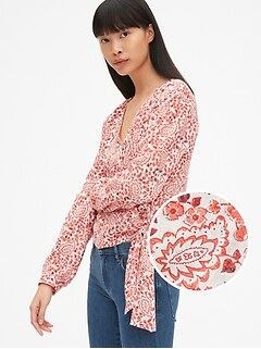 Long Sleeve Print Wrap Top