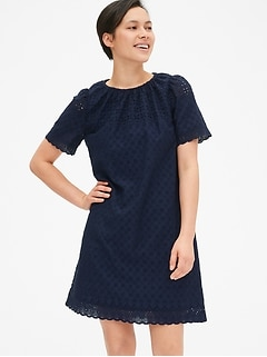 Eyelet Embroidered Shift Dress