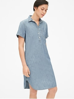 Perfect Popover Shirtdress in Chambray
