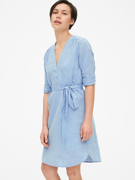 Popover V-Neck Shirtdress in Linen