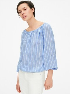 Stripe Off-Shoulder Top in Linen