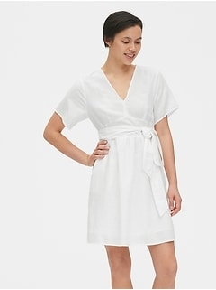 Kimono Sleeve Tie-Belt Dress in Linen