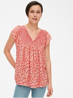 Mix-Print Flutter Sleeve Smock Top