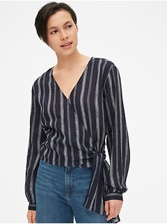 Long Sleeve Stripe Wrap Top