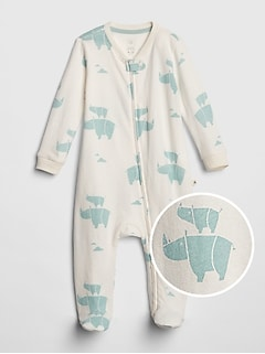 Organic Cotton Rhino Footed One-Piece