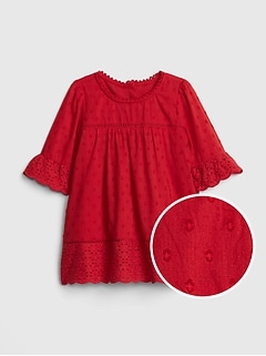 Eyelet Bell-Sleeve Dress