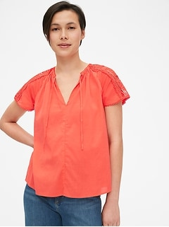 Lace-Trim Split-Neck Top