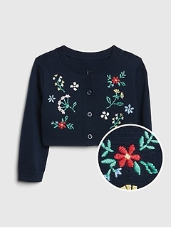 Baby Floral Embroidered Cardigan Sweater