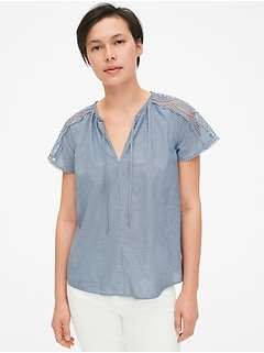 Lace-Trim Short Sleeve Split-Neck Top in Chambray