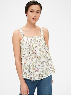 Floral Print Square-Neck Tank Top in Modal