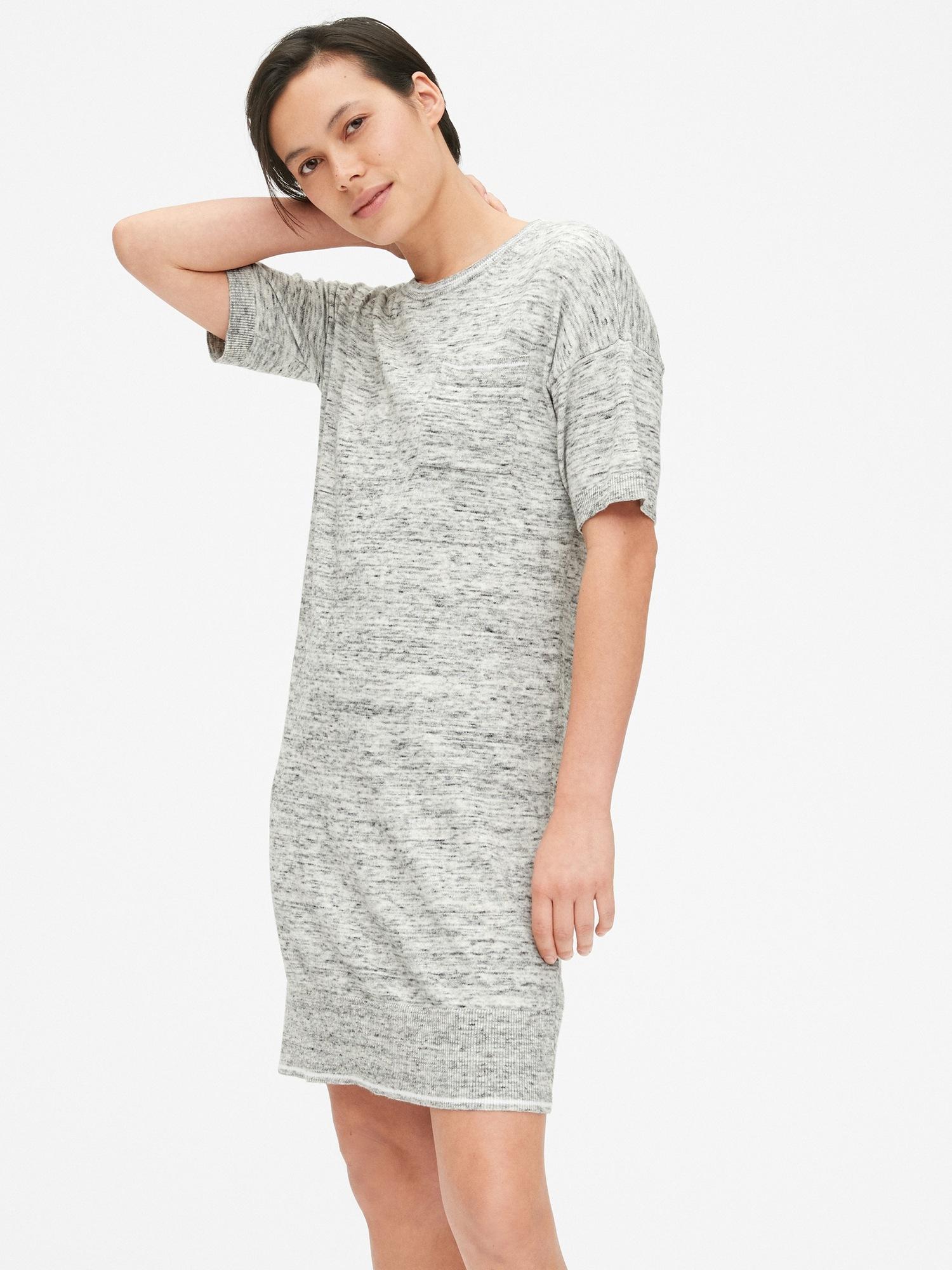 3ac6dc5de1c Short Sleeve Crewneck Pocket Sweater Dress