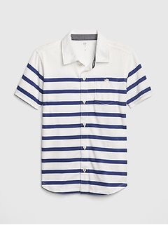 Kids Stripe Knit Short Sleeve Shirt