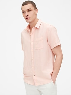 Linen-Cotton Short Sleeve Shirt