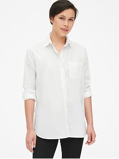 Cross-Button Boyfriend Shirt