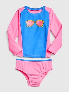 Graphic Rashguard Swim Set