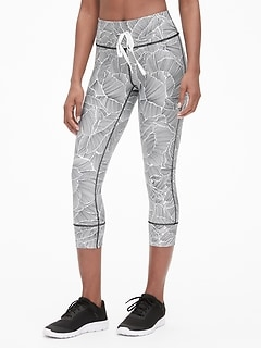 GapFit Print Drawstring Capris in Eclipse